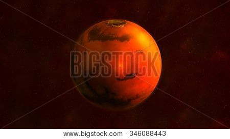 Planet Mars From Space Showing Elysium Mons. 3d Render