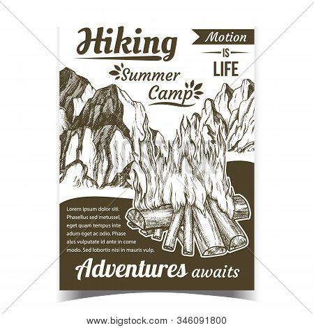 Hiking Summer Camp Sport Adventures Poster Vector. Burning Firewood And Rocky Cliffs On Hiking Adver