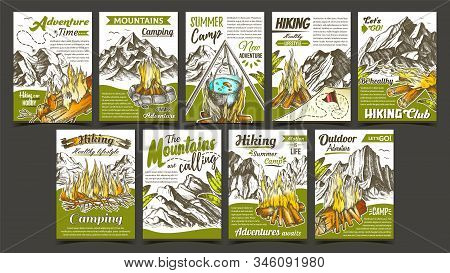 Hiking Summer Camp Advertising Banners Set Vector. Collection Of Different Creative Advertise Advent