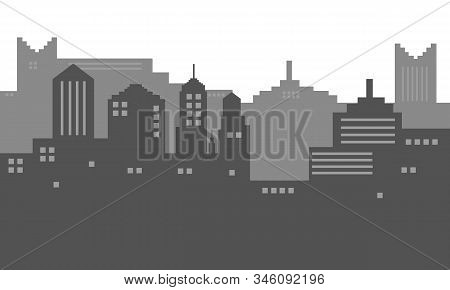 Background Vector Illustration Of City Silhoutte In Black And White Colour