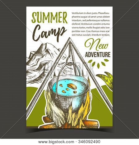 Summer Camp Adventure Advertising Banner Vector. Cooking In Cauldron On Burning Tree Timbers Flame C