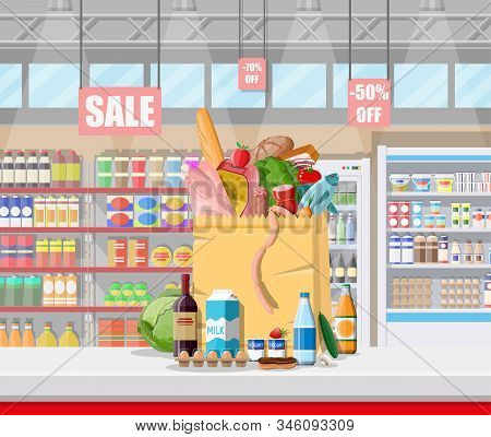 Supermarket Store Interior With Goods. Big Shopping Mall. Interior Store Inside. Checkout Counter, G