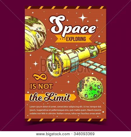 Space Exploring Satellite Advertise Poster Vector. Satellite For Navigation System And Explore Cosmo