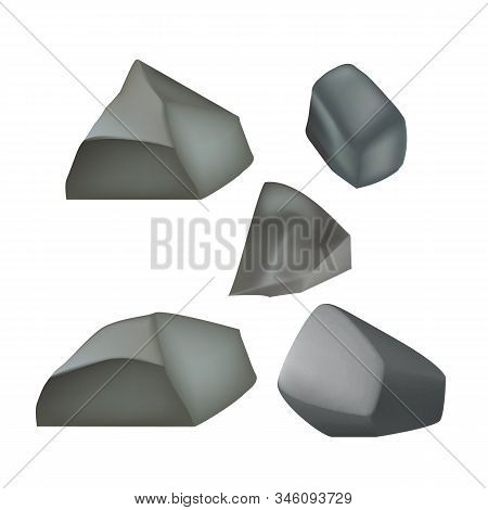 Stone Gravel Cobblestone Different Form Set Vector. Solid Strong Stone Crag For Building Road Or Sto