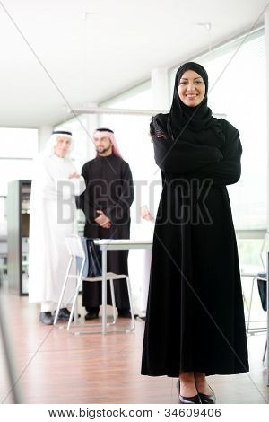 Successful and happy business arabic  people  standing