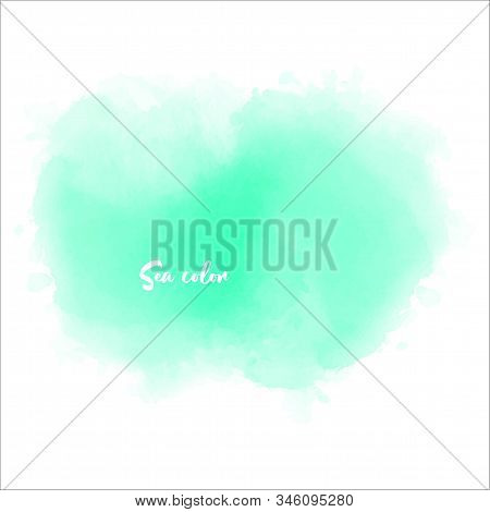 Watercolor Bright Green Watercolour Stain For Concept Design. Light Green Watercolour Card Backgroun