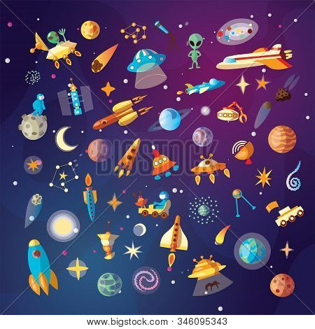 Cute Cartoon Space Explorer, Astronomy Science And Ufo Vector Set. Lunar Rover, Planets, Rockets, Sp