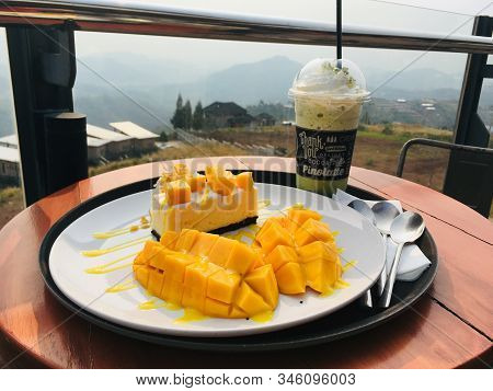 Mango Cheesecake With Fresh Mango And Matcha Frappe Drink, Enjoy Dessert Order On Mountain View Back
