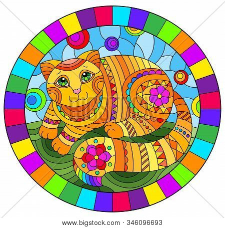 Illustration In Stained Glass Style With Abstract Cute Red Cat On A Blue Background, Oval Image In B