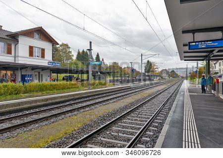 Stein Am Rhein, Switzerland - October 2019: Stein Am Rhein Railway Station Owned By Swiss Federal Ra