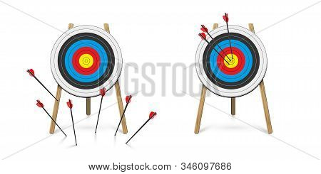Hitting And Missed Target With Archery Arrow Set. Goal Achievement And Strategical Planning. Success