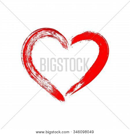 Red Heart Hand Drawn Illustration. Love And Romantic Feelings Brush Stroke Symbol. Charity And Donat