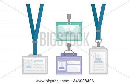 Identification White Blank Plastic Id Card Or Press Card Vector Set With Clasp And Lanyards