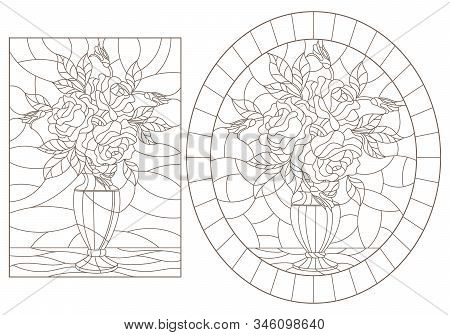 Set Of Contour Illustrations Of Stained Glass Windows With Still Lifes, Vases With Rose Flowers, Dar