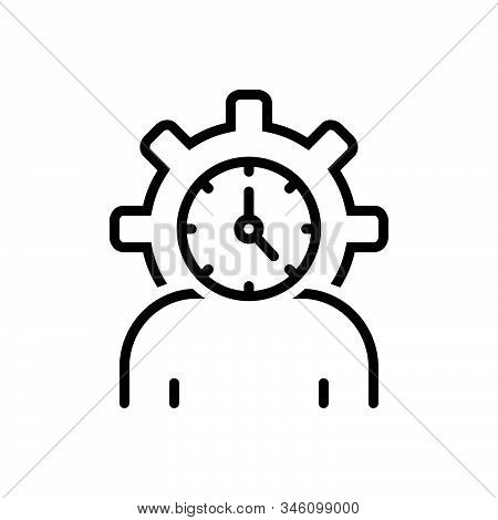 Black Line Icon For Lifespan Clock Life-cycle People Degenerate Age