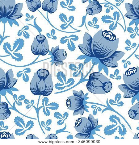 Vector Pastel Blue Rose Flower Seamless Pattern Background On White Surface