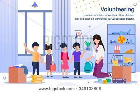 Volunteering In Kindergarten, School Or Orphanage Trendy Flat Vector Banner, Poster Template. Female