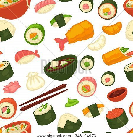 Sushi And Noodles, Japanese Cuisine Seamless Pattern, Ginger And Wasabi