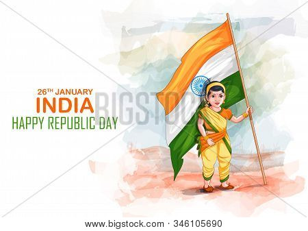 Illustration Of Kids In Fancy Dress Of Indian Freedom Fighter On Happy Republic Day Of India