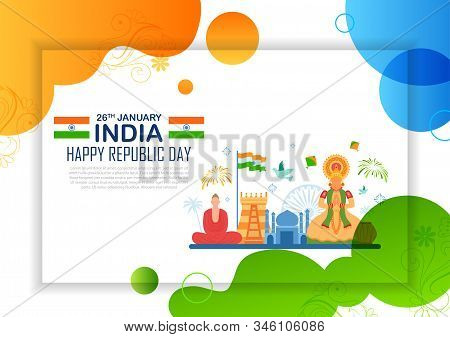 Illustration Of Abstract Tricolor Banner With Indian Flag For 26th January Happy Republic Day Of Ind