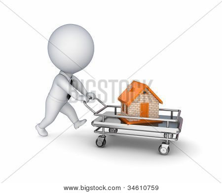 3d person with a shopping trolley and small house.