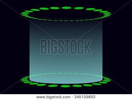 Circular Base With Light Shining Upwards. Display Stand With Light Shining Upwards.