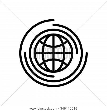 Black Line Icon For Global Universal Environment Globalization Worldwide