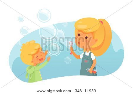 Kids Blowing Soap Bubbles Flat Vector Illustration. Cute Children, Siblings Having Fun With Foam Toy