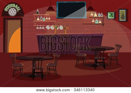 Bar Interior Flat Vector Illustration. Empty Pub With Wooden Counter, Chairs And Equipment. Bartende