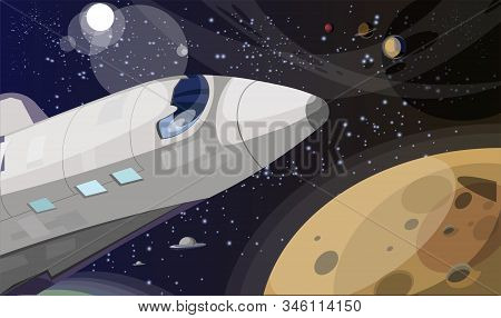Space Exploration Flat Vector Illustration. Shuttle In Space Cartoon Image. Interstellar Travel, Zer