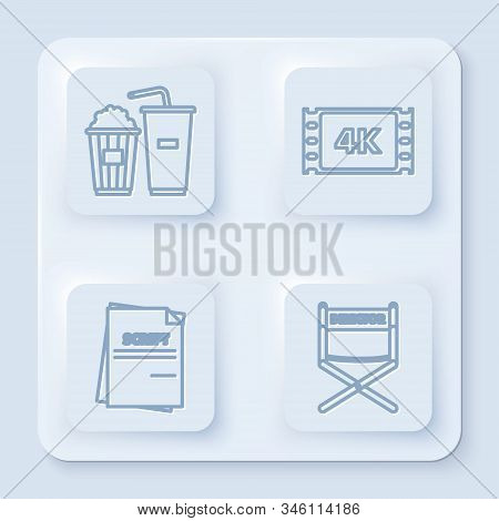 Set line Popcorn and soda drink glass, 4k movie, tape, frame , Scenario and Director movie chair . White square button. Vector poster
