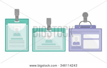 Identification White Blank Plastic Id Card Or Press Card Vector Set With Clasp