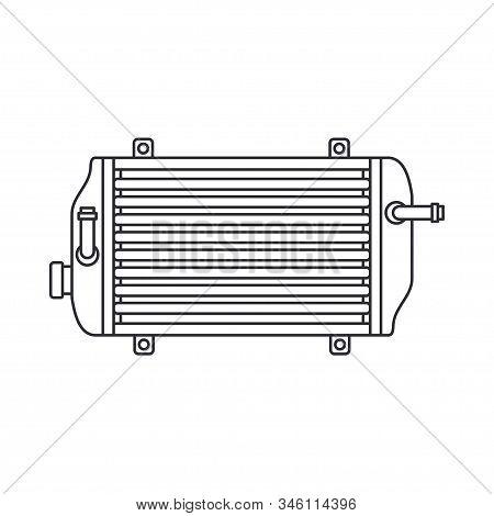 Line Vector Icon Auto Moto Parts Accessories Radiator. Repair Service Equipment. Engine Elements Sho