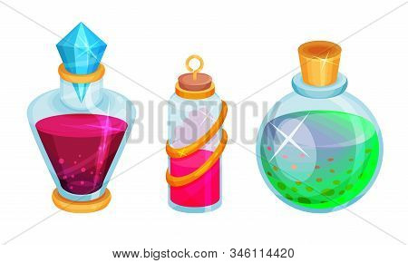 Magic Potions And Elixirs With Colorful Liquids Poured In Glass Fancy Shaped Bottles Vector Set