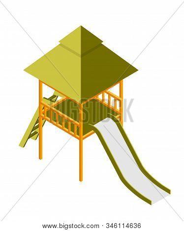 Children Slide Isometric Vector Illustration. Empty Playground Attribute. Kids Entertainment Object.