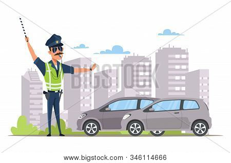 Car Traffic Control Flat Vector Illustration. Young Law Enforcer, Patrolman In Vest Cartoon Characte