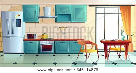 Home Kitchen, Empty Interior With Appliances For Cooking And Furniture, Served Table Near Large Wind