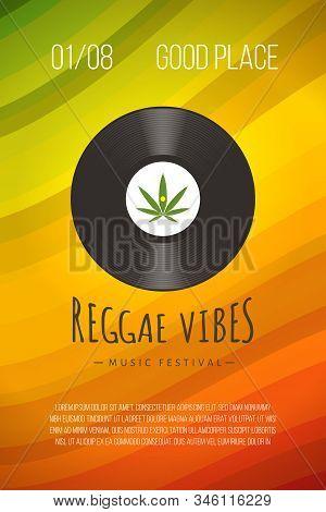 Reggae Poster With Vinyl Disc Logo, Marijuana Leaf And Rastafarian Colors Background. Vector Vintage
