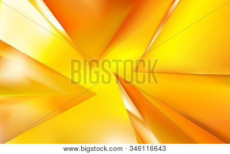 Abstract Realistic Background Glossy Golden Or Yellow Trangeles And Pyramid. Reflection, Macro Vecto