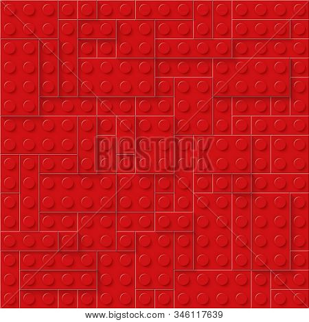 Red Seamless Plastic Construction Plate. Perfect Closeup Gloss Plastic Block. Eps 10