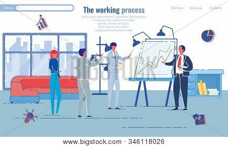 Working Process In Professional Office, Banner. Men And Women, Company Employees Discuss Growth Char