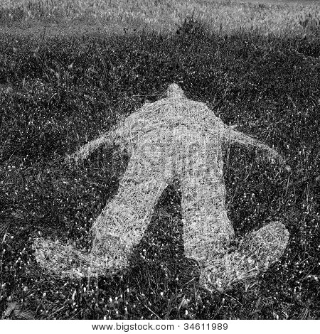 Human Figure Outline Imprinted On Grass