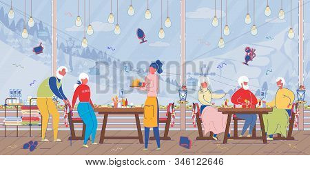 Happy Mature People Relaxing In Ski Alps Mountains Restaurant With Huge Windows And Cable Road View.