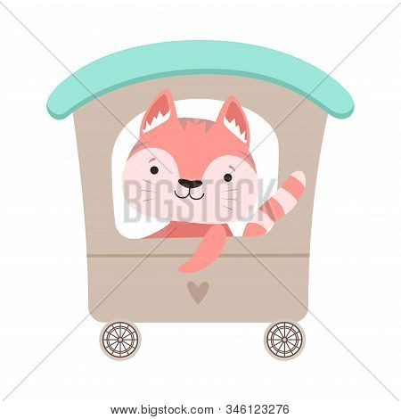 Cheerful Whiskered Cat Driving Toy Wheeled Carriage Vector Illustration