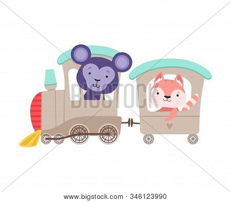 Cheerful Bucket Ears Monkey And Whiskered Cat Driving Toy Wheeled Train Vector Illustration