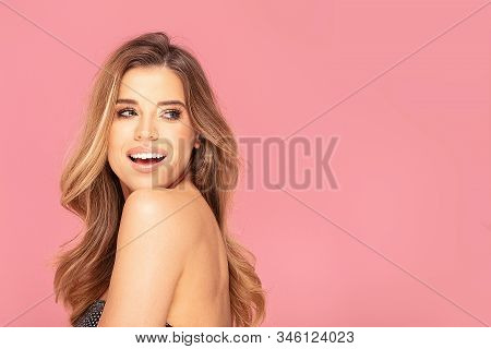 Portrait Of Beautiful Girl With Smiley Face. Happy Womans Smile, Clean Skin, Natural Makeup. Pastel