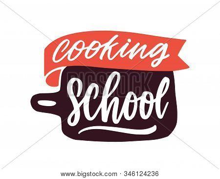 Cooking Classes Flat Vector Logotype. Cartoon Cutting Board With Handwritten Lettering Sticker. Culi