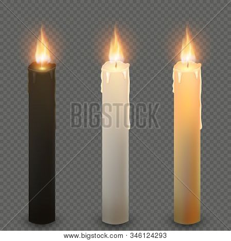 Paraffin Or Wax Realistic Dark Light And Yellow Burning Party Candle, Isolated On Transparent Backgr