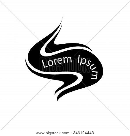 Logo Smell Of Evaporation. Hot Aroma, Cooking Steam Odour, Fume Of Flame. Cooking Steam Or Warm Arom