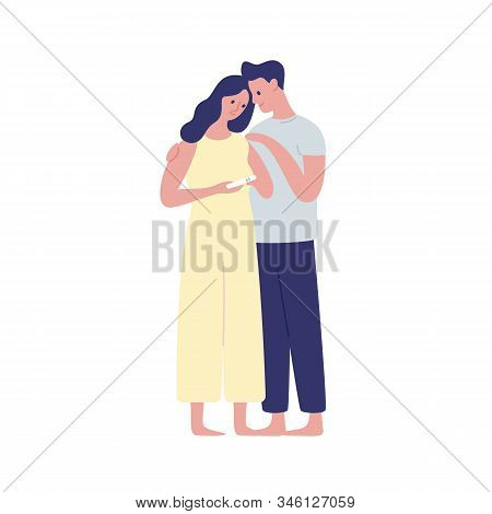 Young Future Parents Hugging Flat Vector Illustration. Woman Holding Positive Pregnancy Test On Whit